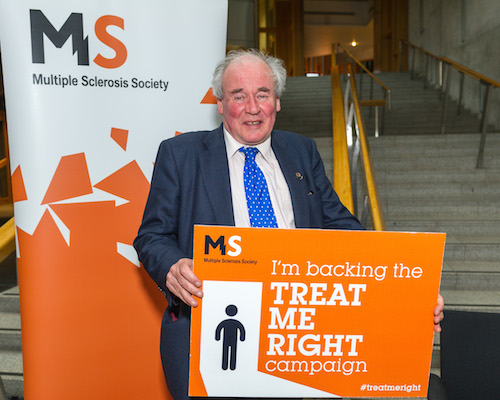 Jamie McGrigor MSP at the MS Society's Treat Me Right campaign event at the Scottish Parliament
