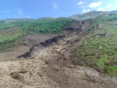 BEAR Scotland: Looking up landslip channel from the carriageway on A83